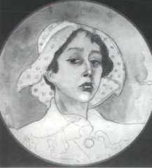 Autoportret Lilki Bzowskiej, akwarela ok. 1920